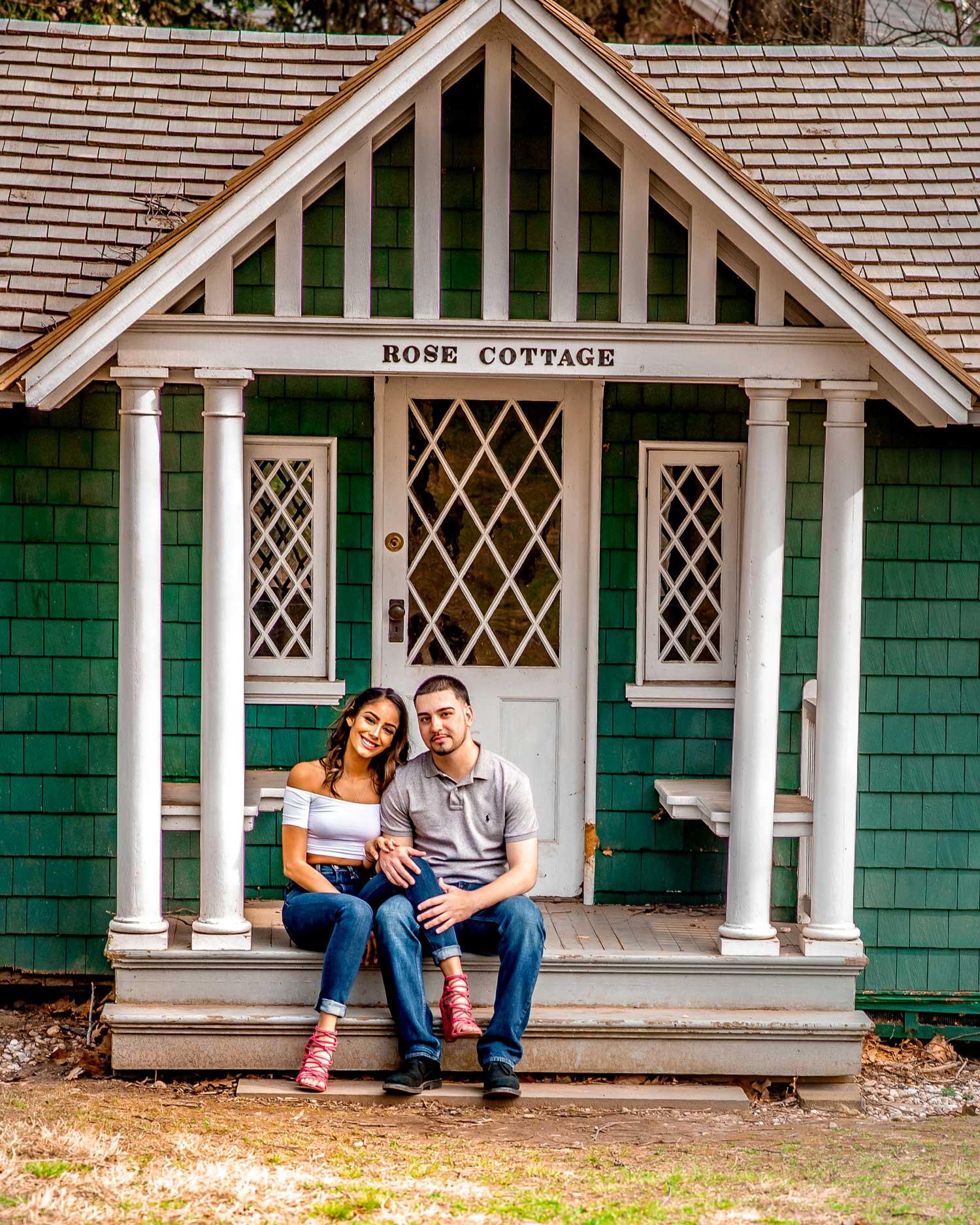 New York engagement photo shoot at rose cottage lyndhurst mansion engagement photos