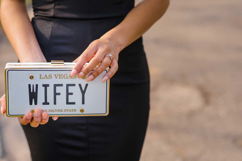 las vegas wifey clutch license plate engagement photos