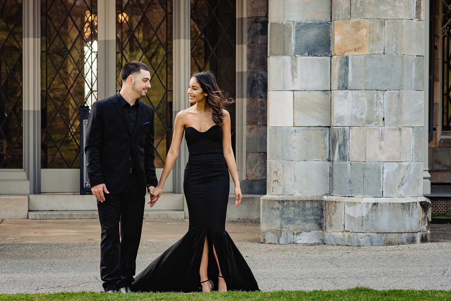 New York engagement photo shoot at lyndhurst mansion engagement photos bride in black gown