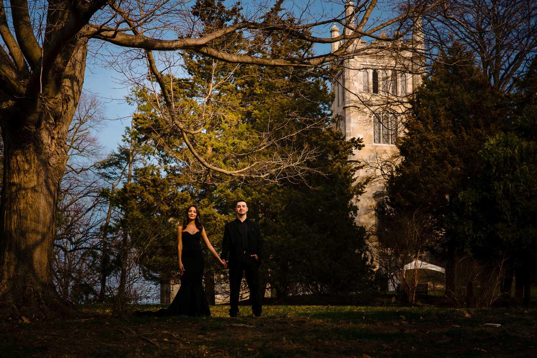 New York engagement photo shoot at lyndhurst mansion engagement photos forest dramatic shot