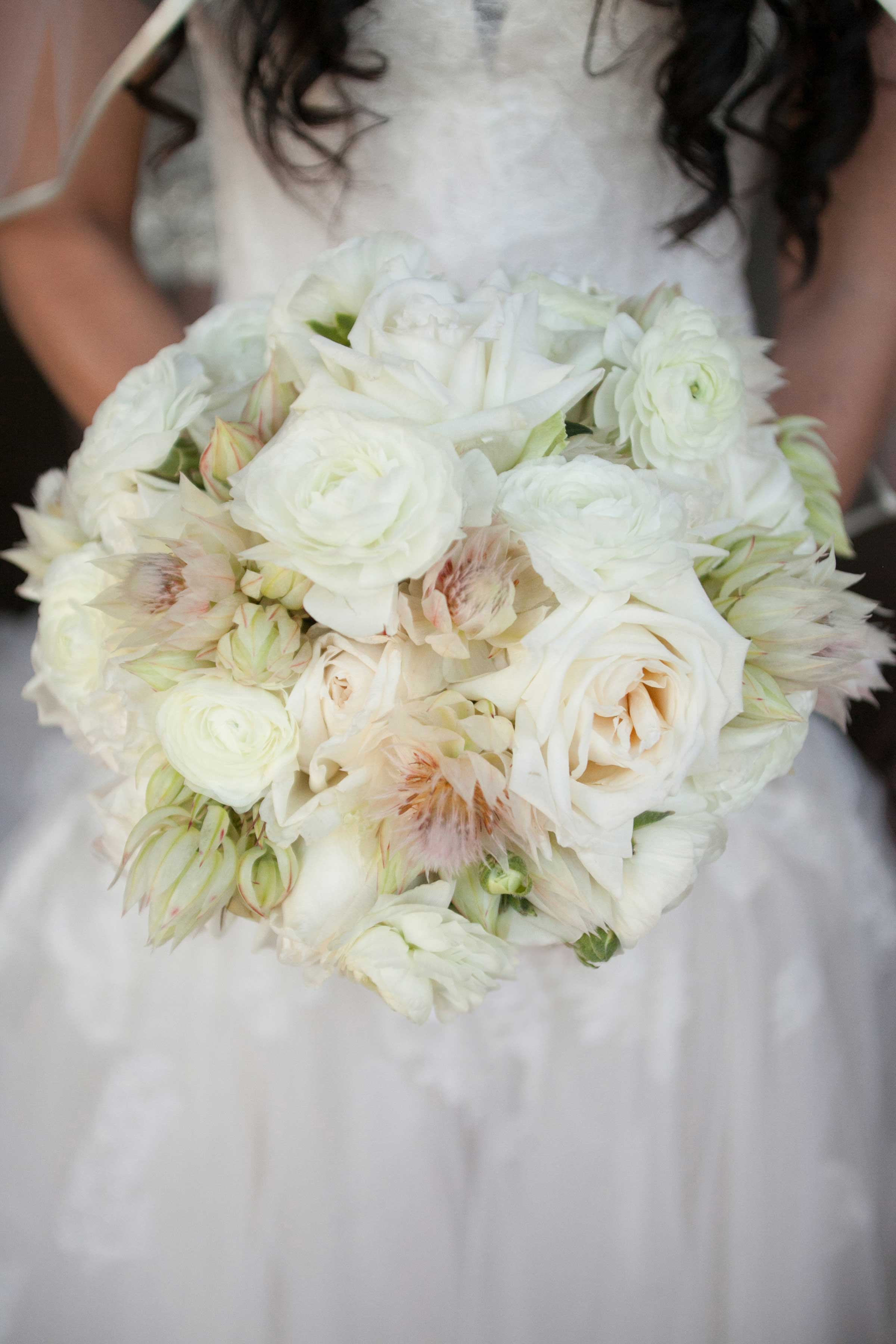 Wedding bouquet with blushing bride protea flowers