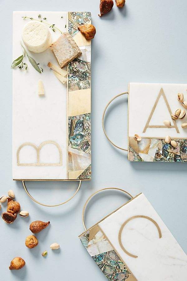 Anthropologie monette monogrammed cheese board gift ideas
