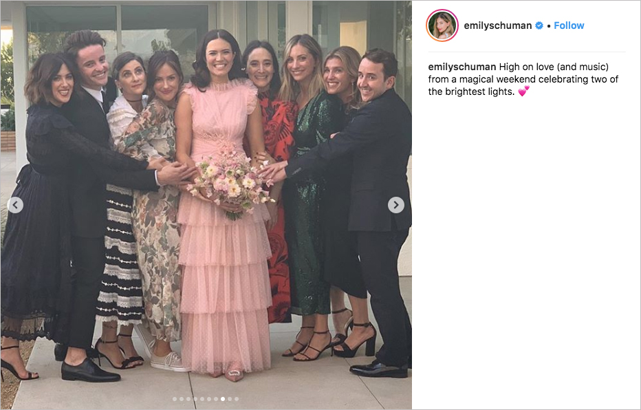 mandy moore taylor goldsmith dawes wedding, mandy moore pink wedding dress rodarte