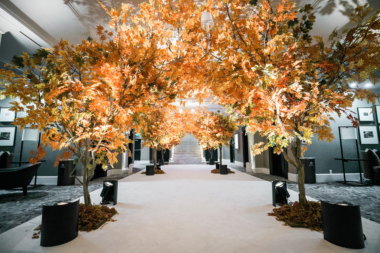 Fall leaves at wedding anniversary party vow renewal