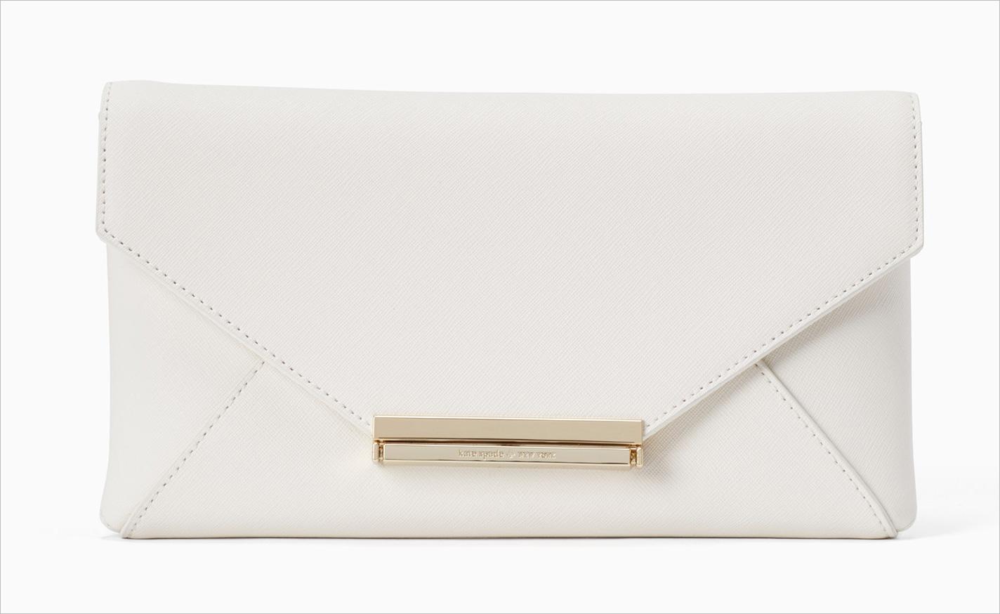 Wedding belles charla envelope clutch white kate spade bridal clutch ideas weddings