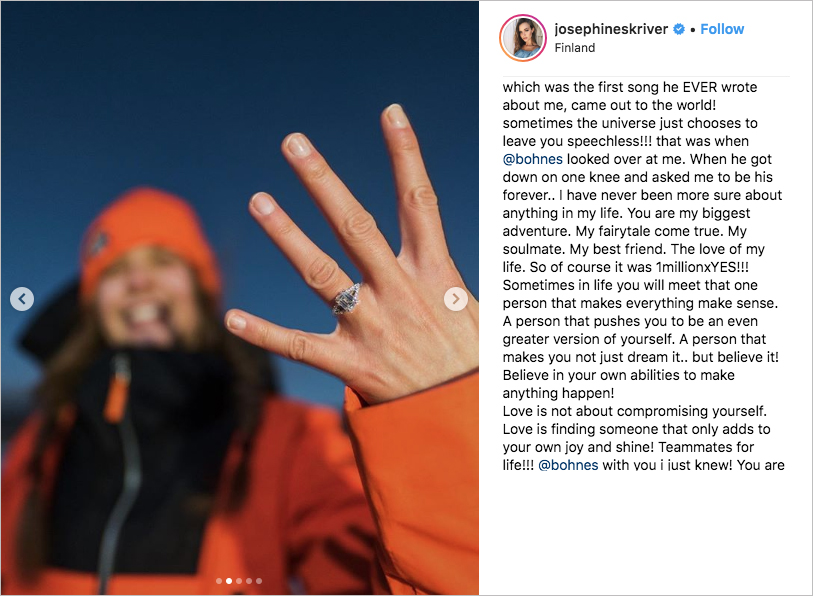 victoria's secret angel Josephine Skriver engaged to Alex Deleon Bohnes, northern lights proposal