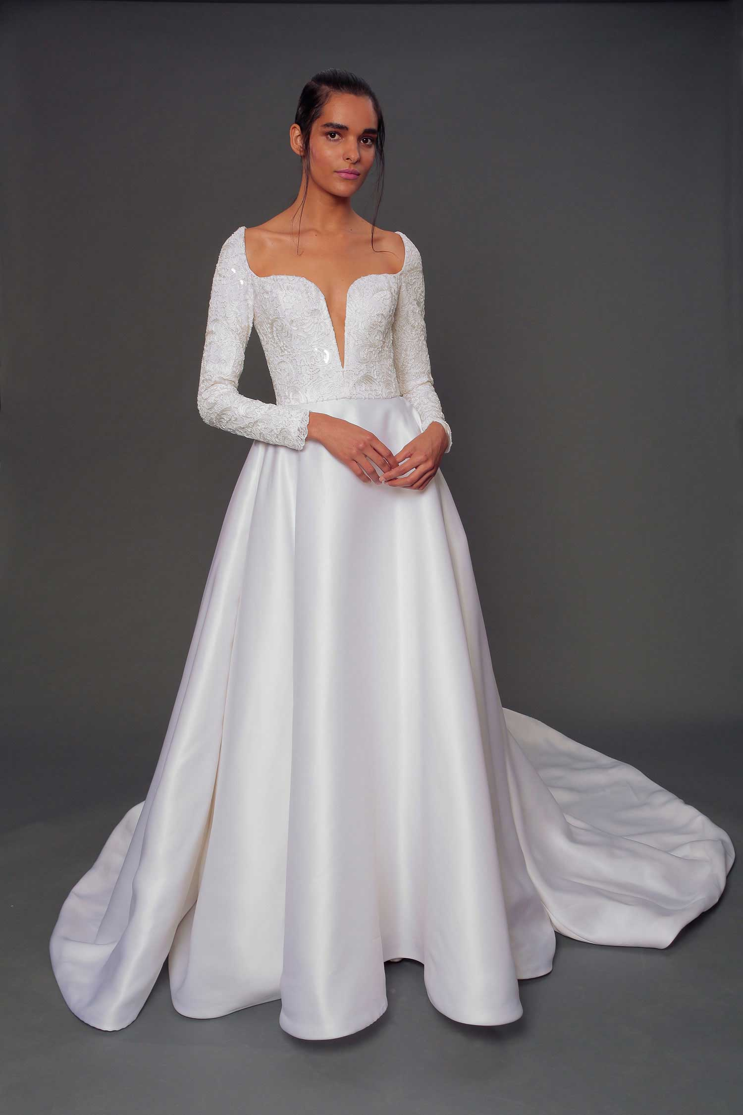 long sleeve wedding dress arlette isabelle armstrong plungine neckline long sleeves