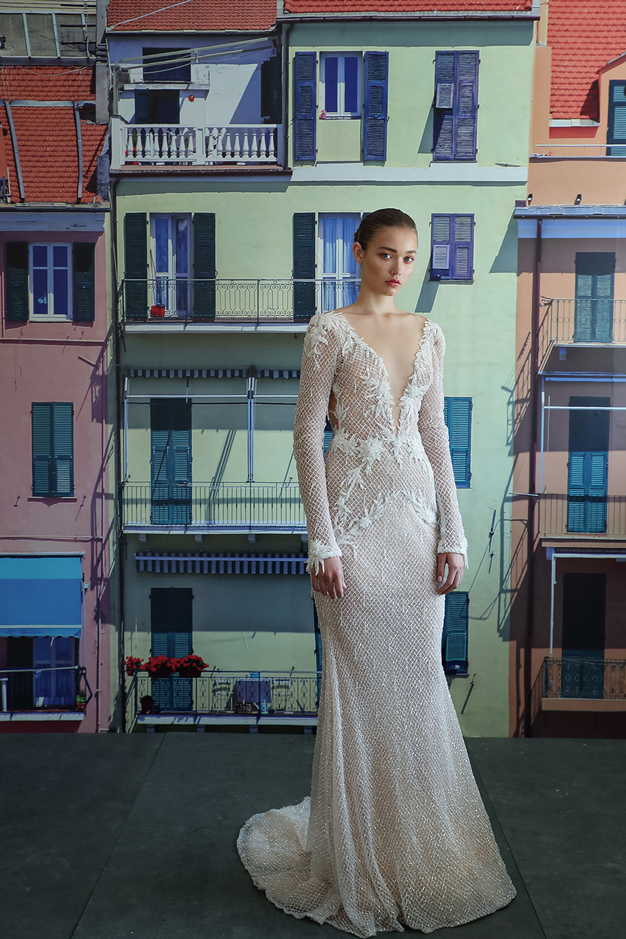 long sleeve wedding dress estelle galia lahav deep v neck netting appliques