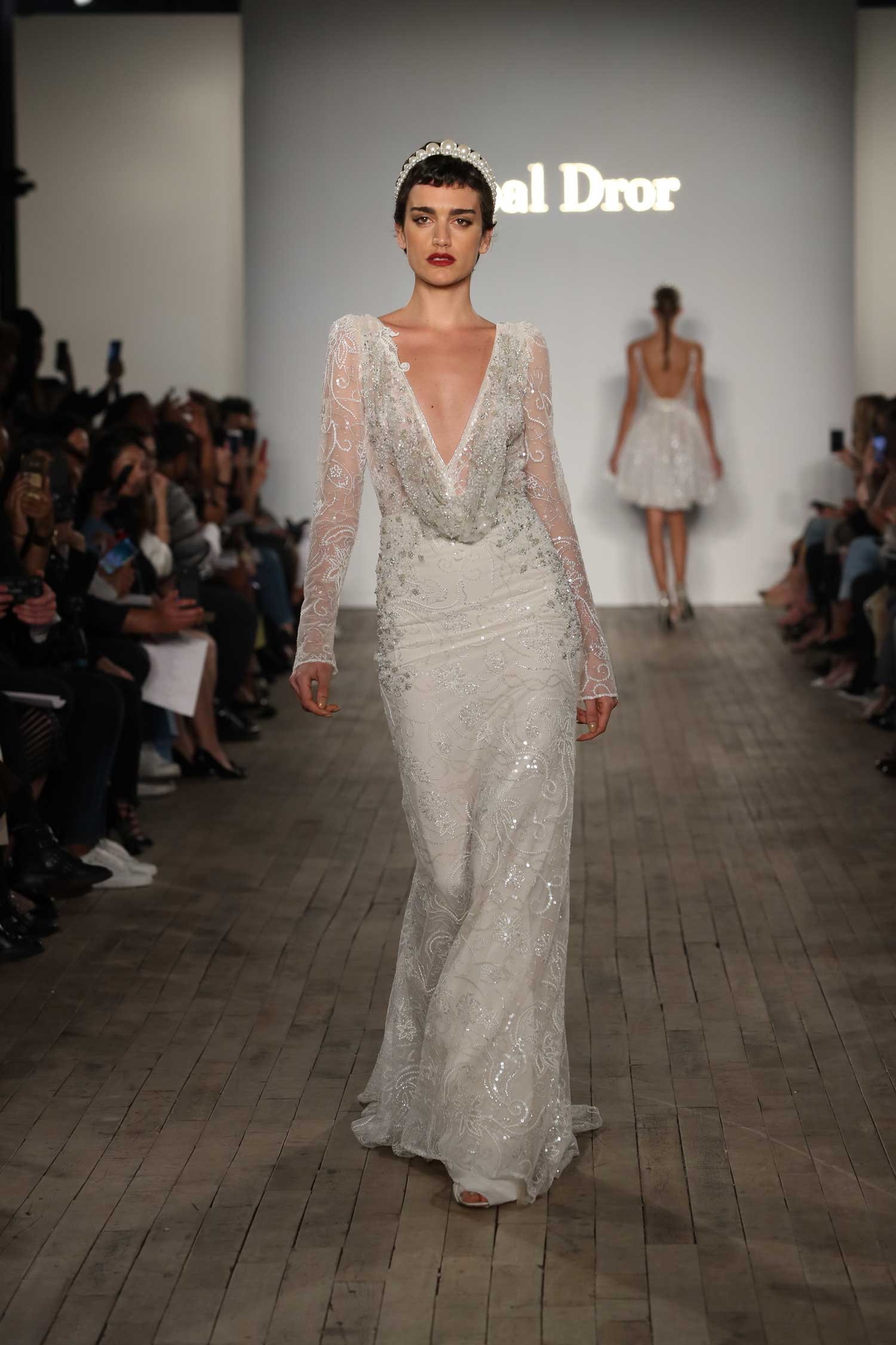 long sleeve wedding dress inbal dror deep v neck plunging neckline sparkle gown