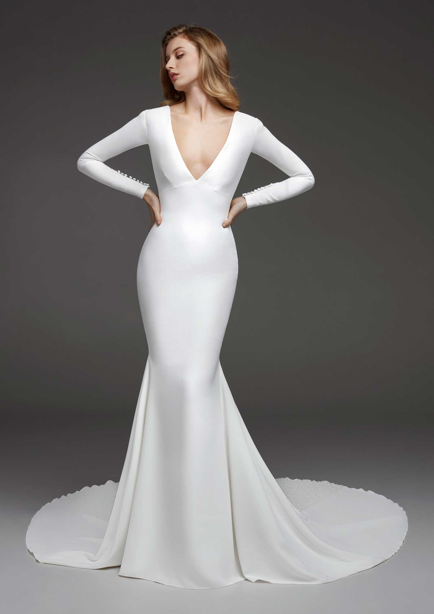 long sleeve wedding dress caceres long sleeve v neck pronovias bridal gown