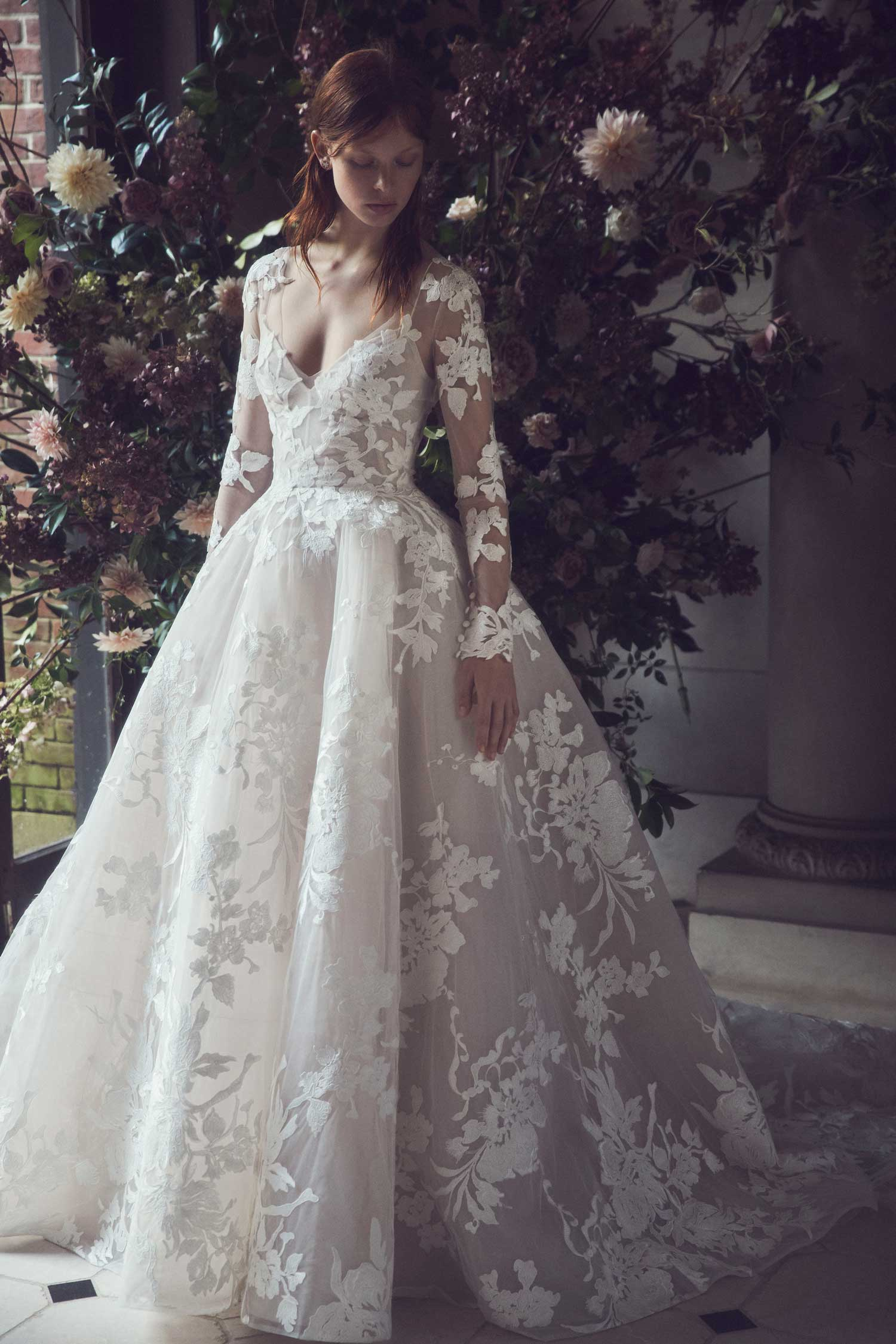 long sleeve wedding dress maeve monique lhuillier flower sheer long sleeve bridal gown