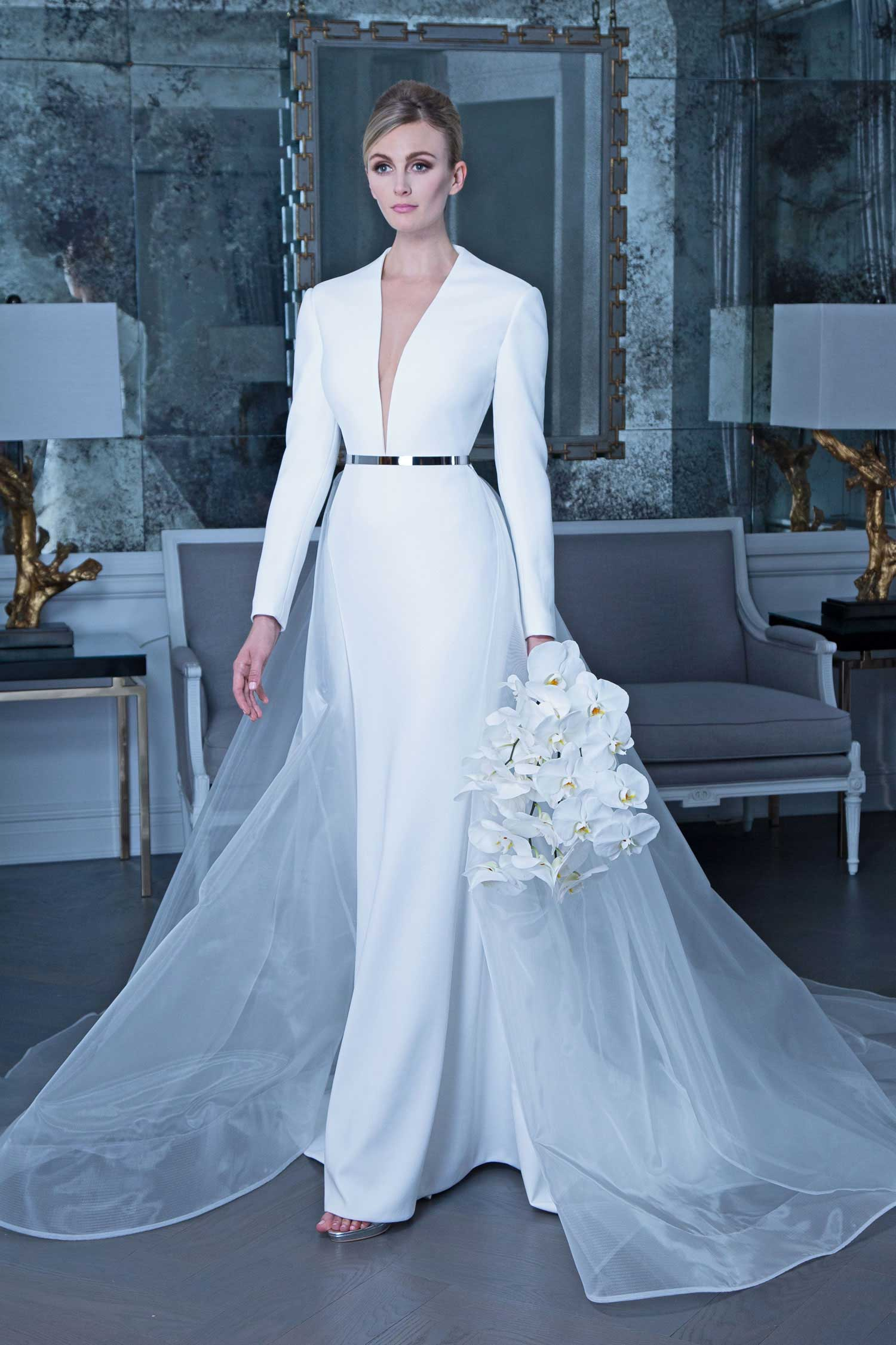 Long sleeve wedding dress romona keveza fall 2019 long sleeve v neck bridal gown