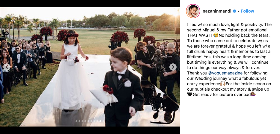 Miguel & Nazanin Mandi wedding, monique lhuillier dress, hummingbird nest ranch
