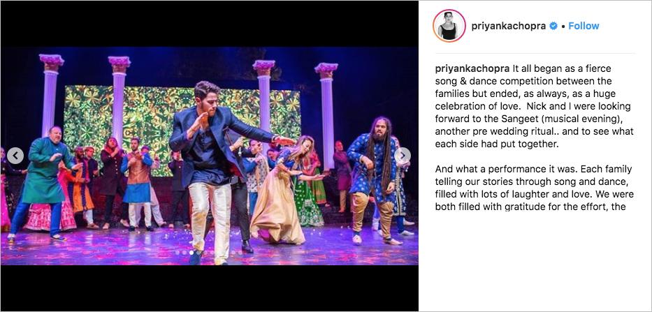nick jonas performing at sangeet wedding to priyanka chopra