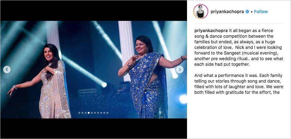 priyanka chopra with mom performing at sangeet, wedding to nick jonas