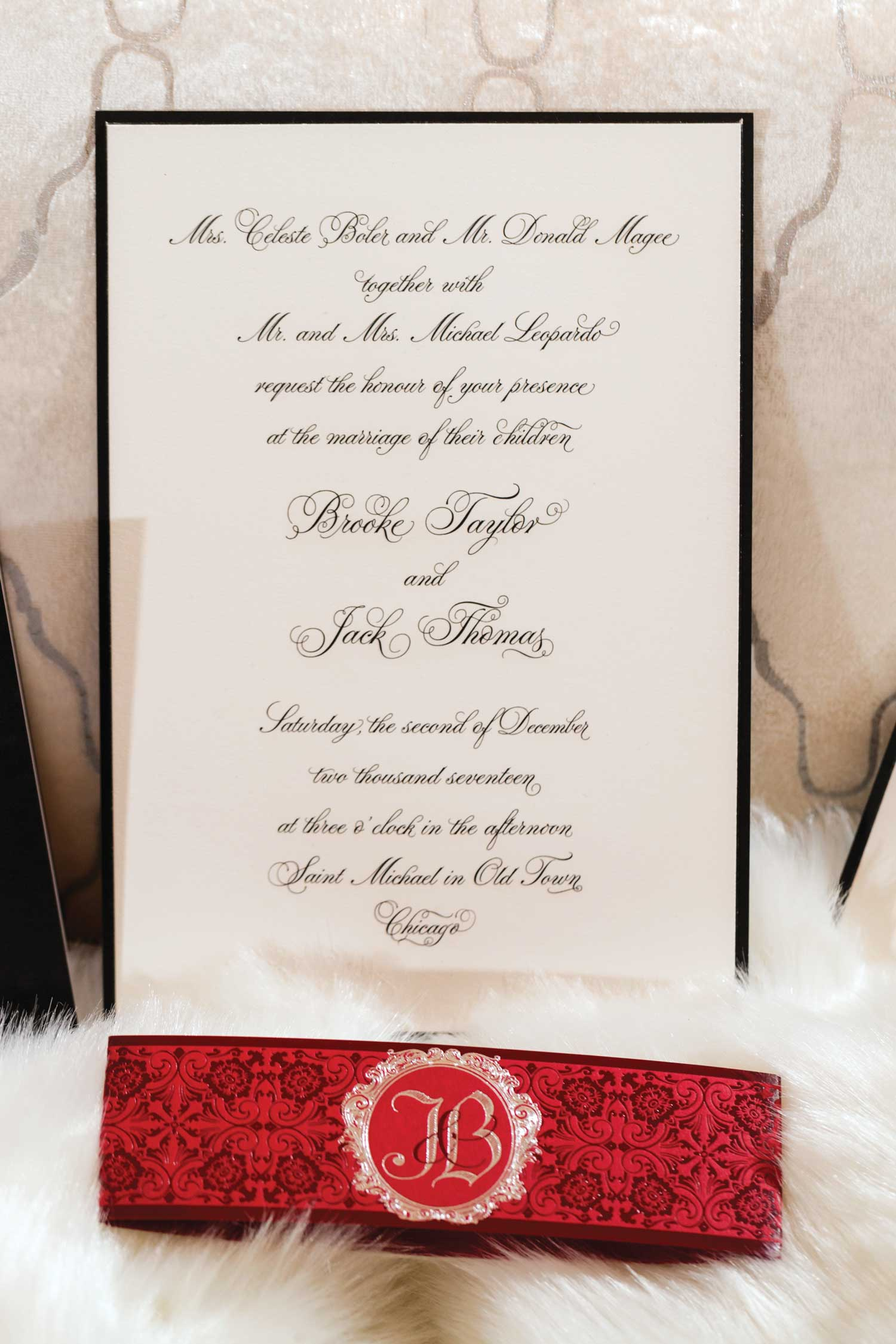inside weddings winter 2019 issue preview black white red wedding invitation elizabeth grace