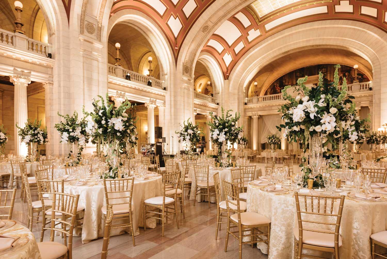 inside weddings winter 2019 issue preview ballroom wedding reception white gold greenery