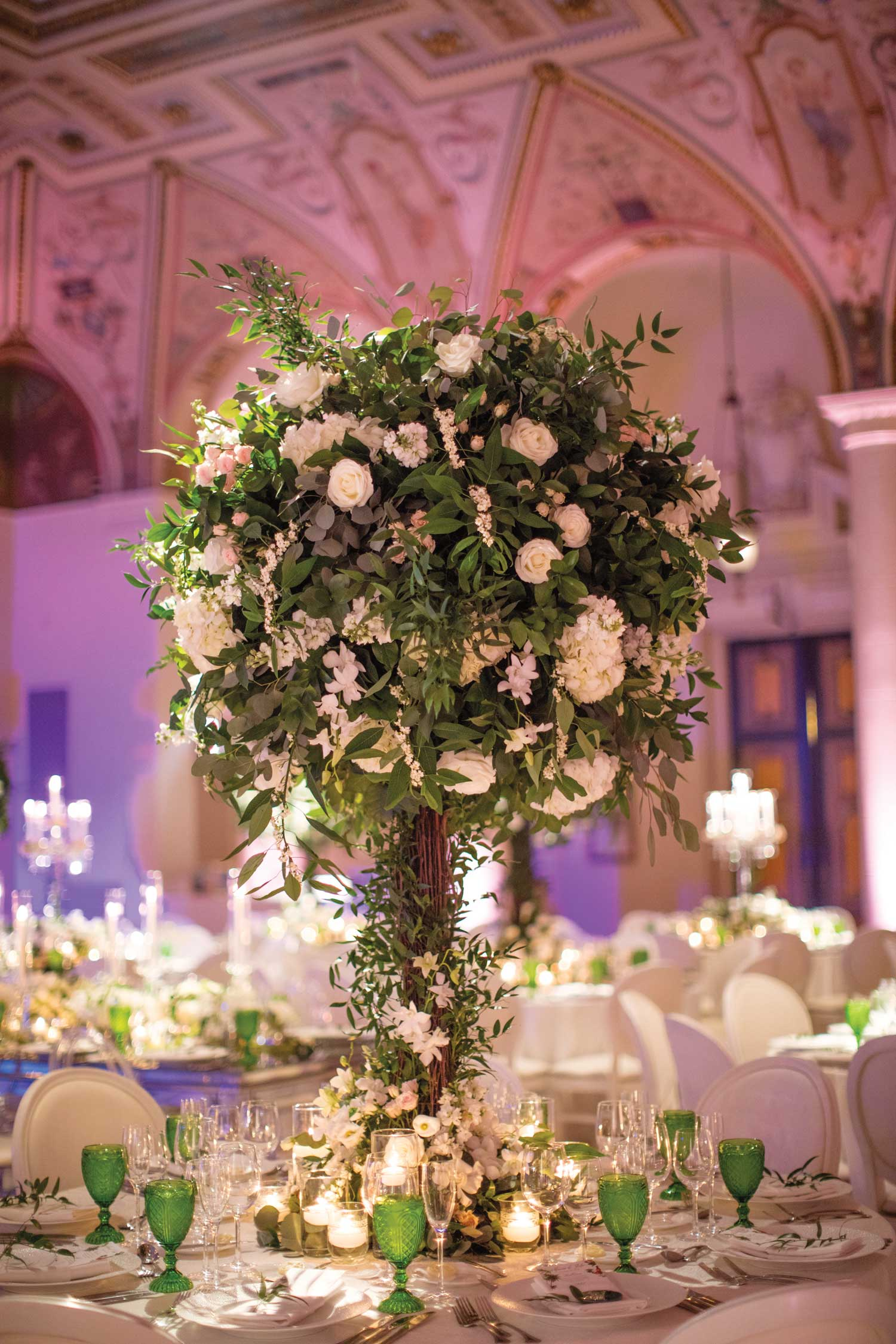 inside weddings winter 2019 issue preview the breakers wedding reception greenery green goblets