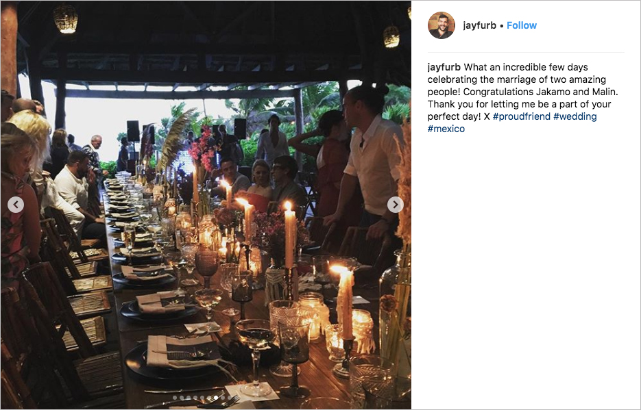 malin akerman & jack donnelly wedding reception in tulum mexico