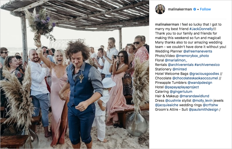 malin akerman jack donnelly wedding photos pink dress tulum wedding