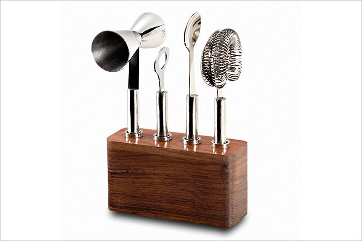 Cosmo bar set with wood base cocktail tools holiday gift ideas
