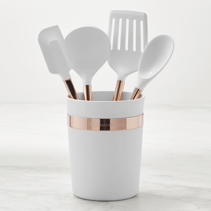 white and copper silicone kitchen tools rose gold holiday gift ideas