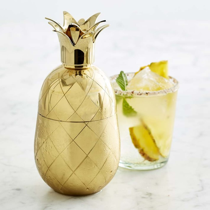 gold pineapple cocktail shaker holiday gift ideas