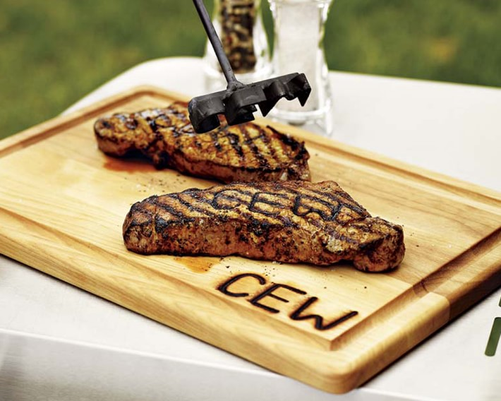 monogrammed steak brand tool and carving board monogram holiday gift ideas for him