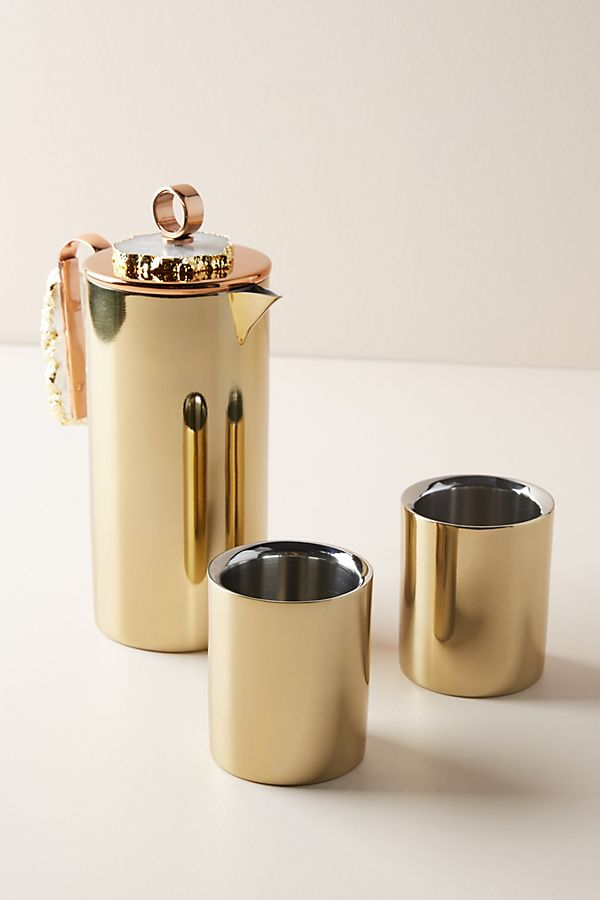 anthropologie gold holiday gift ideas french press set