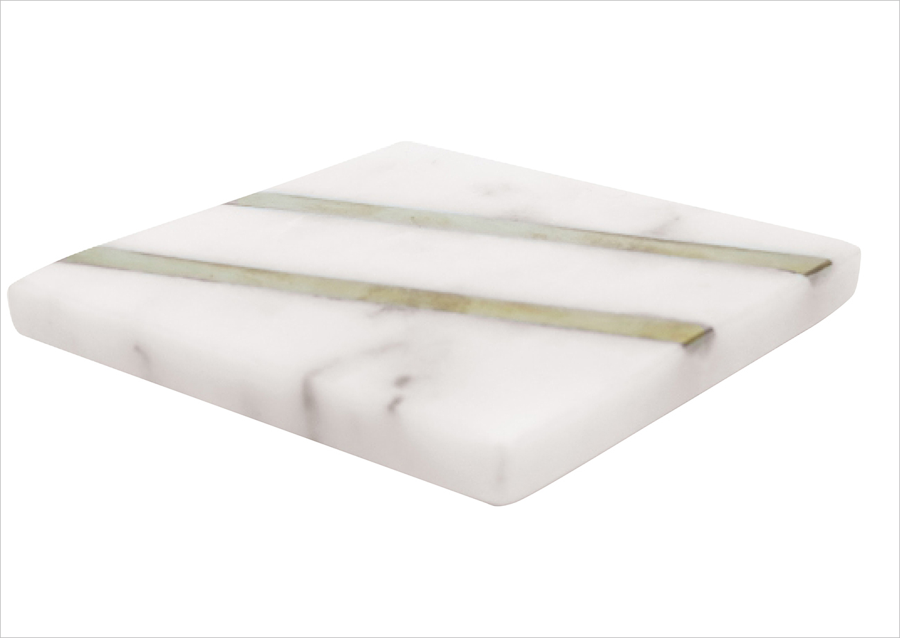 marble coaster with gold brass stripe shop white lilac holiday gift ideas