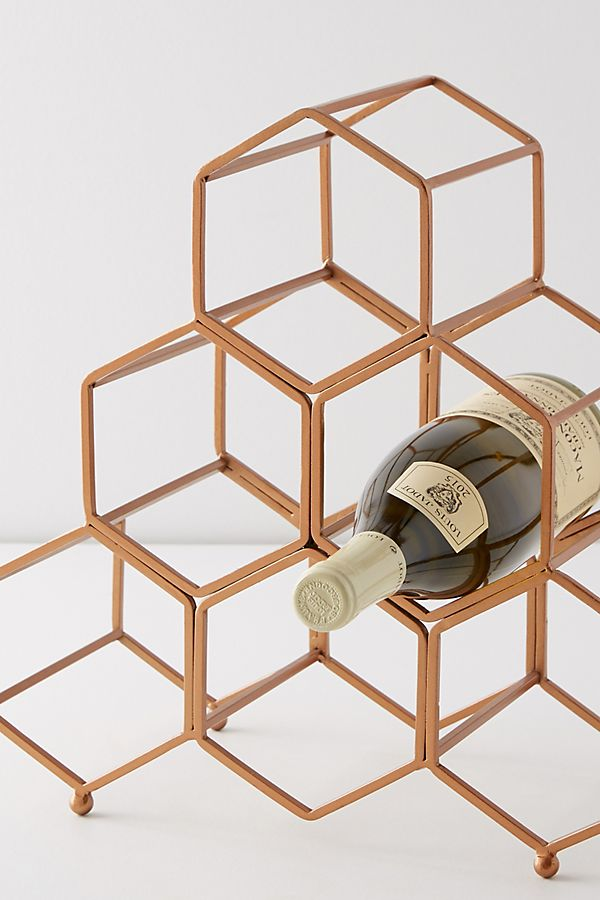 Metallic rose gold honeycomb wine rack anthropologie holiday gift ideas for couples