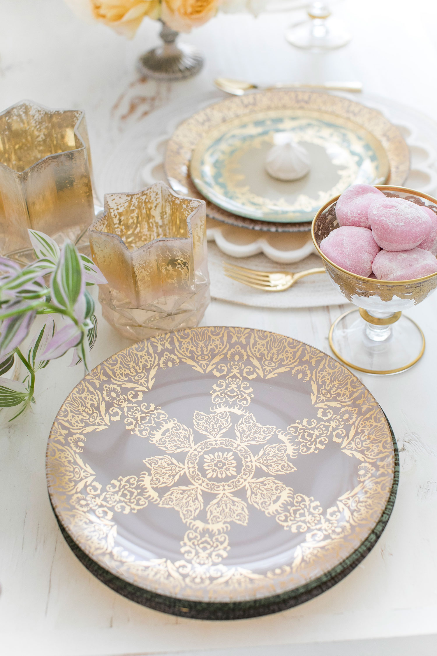 gold pattern dinner plate shop white lilac holiday gift ideas for couples