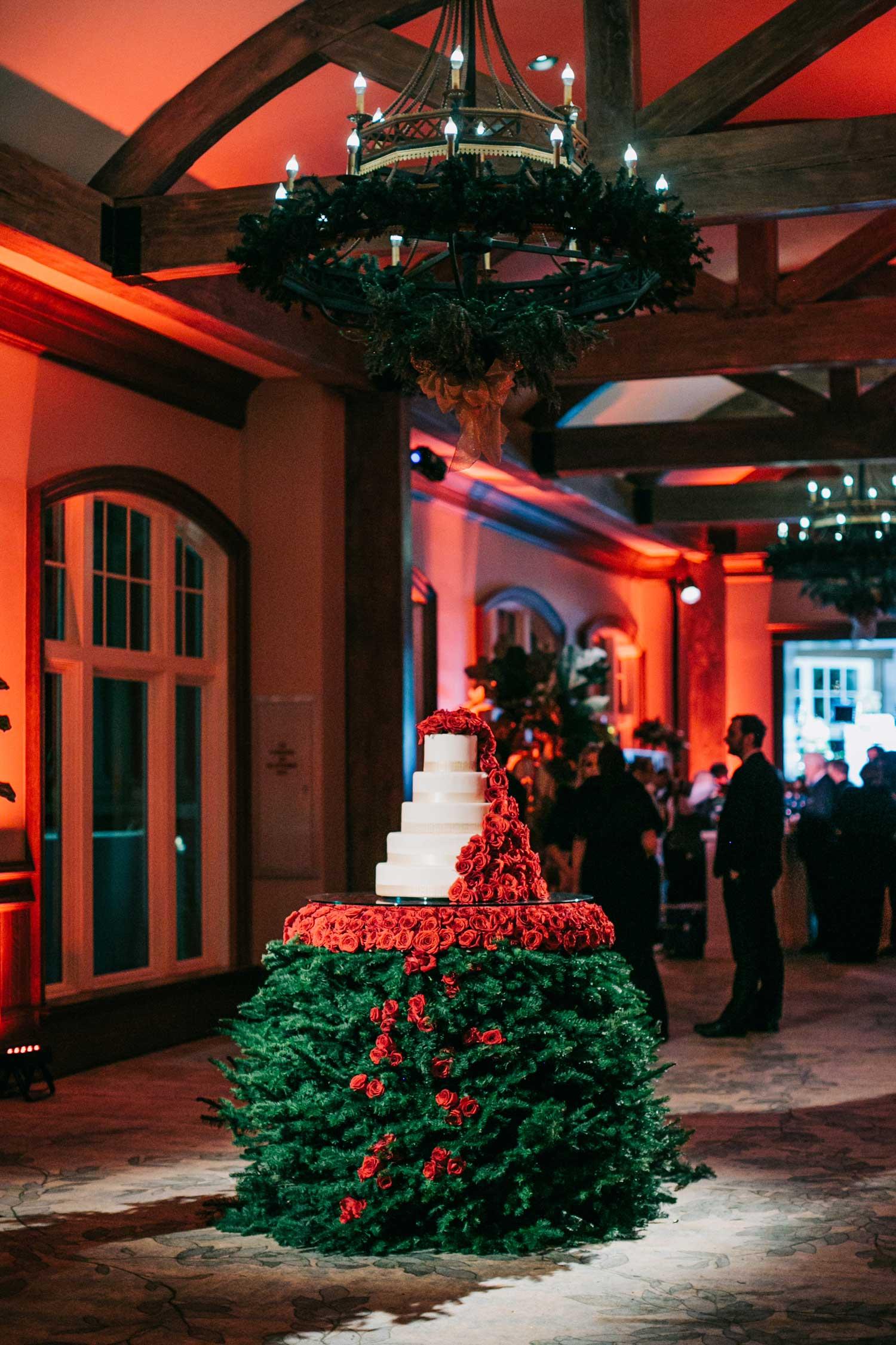 holiday wedding decor christmas tree cake table