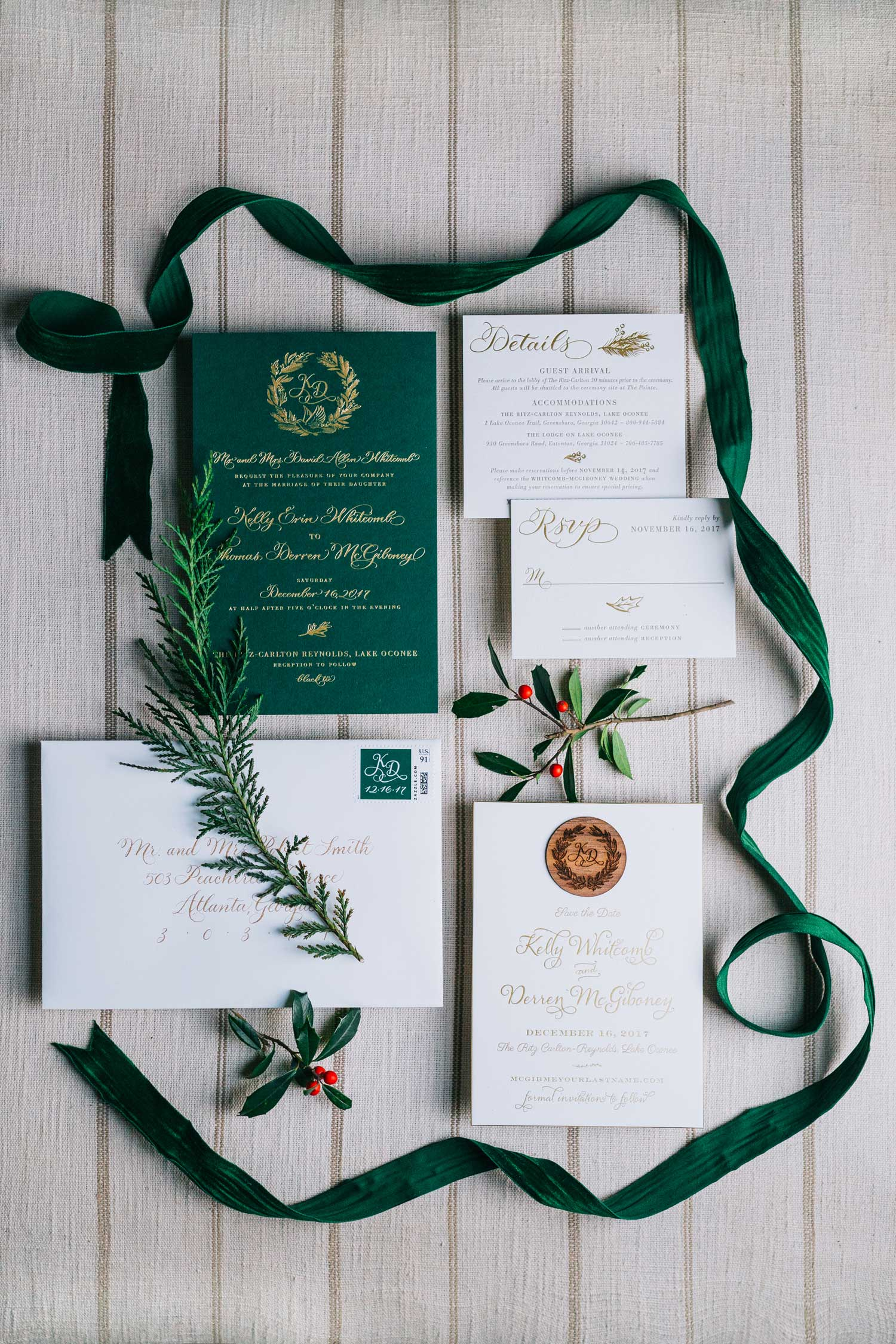 holiday wedding ideas festive invitation suite red green