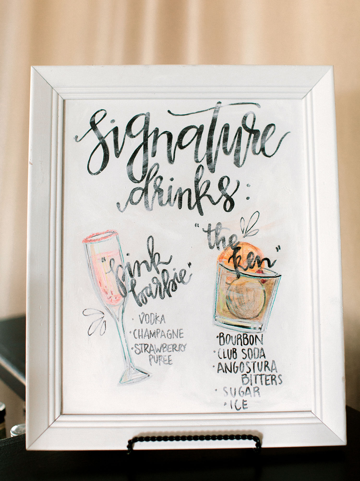 Signature drink menu with cute drawings and calligraphy