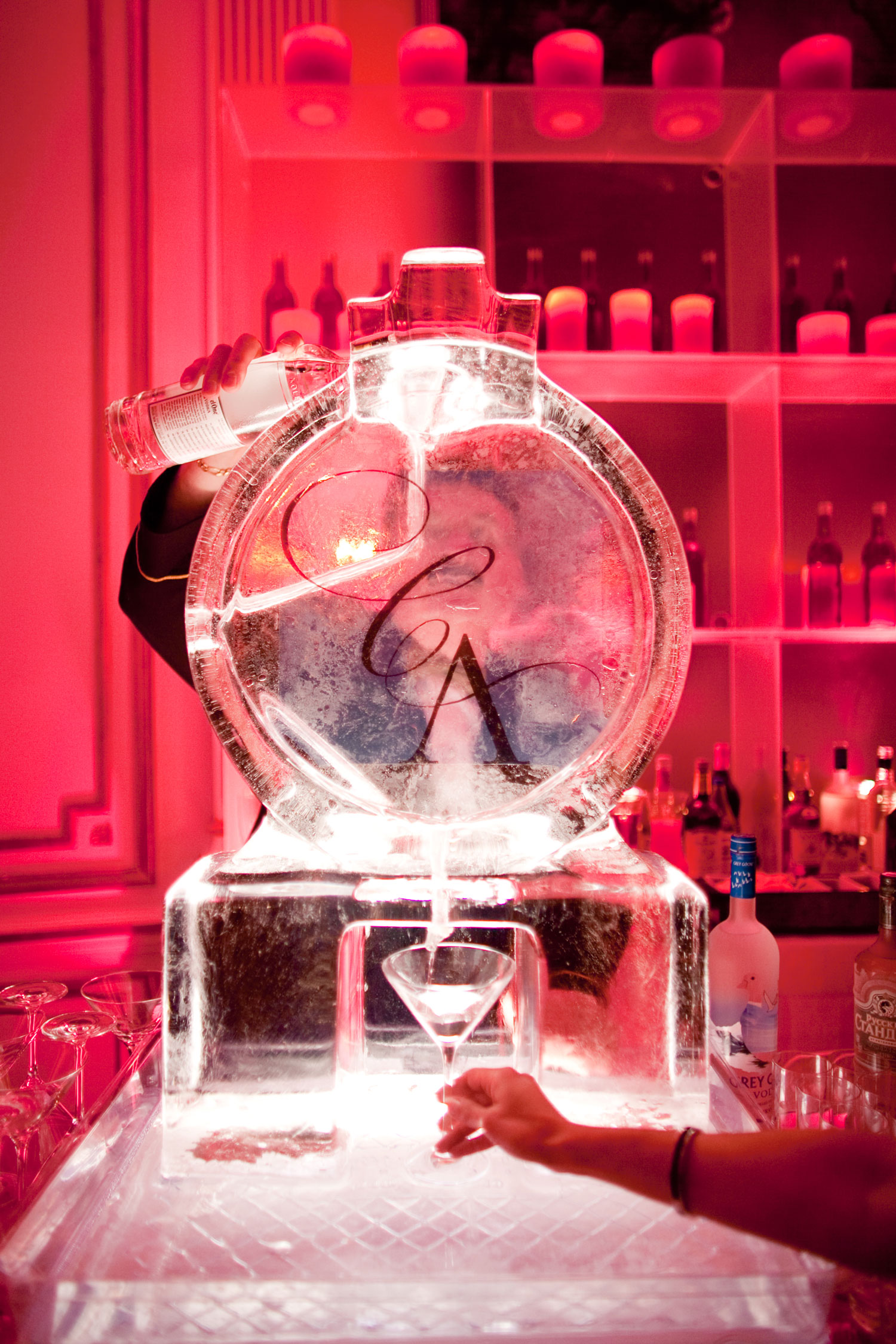 ice luge the day luxury wedding ideas monogram ice cocktail pourer