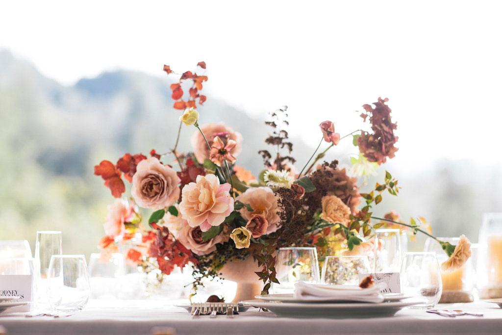Fall flower arrangement bright vibrant colors callista and company