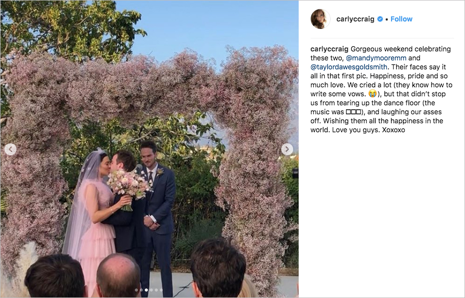 mandy moore & taylor goldsmith wedding, mandy moore pink wedding dress, best celebrity wedding of 2018