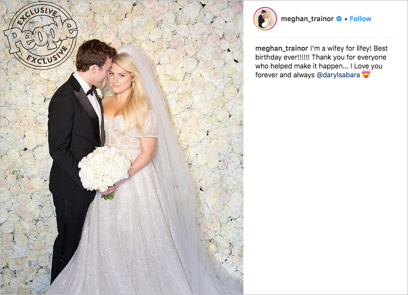 meghan trainor & daryl sabara wedding, best celebrity weddings of 2018