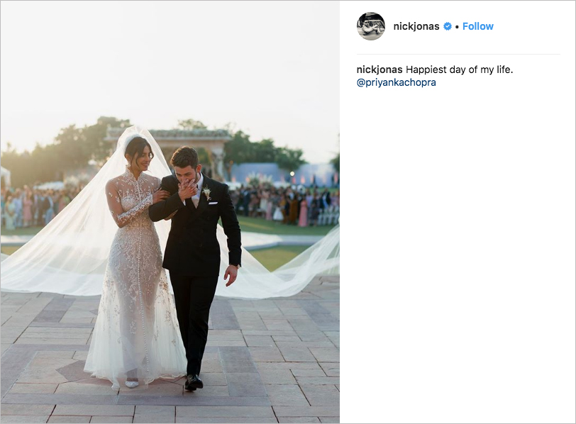 nick jonas & priyanka chopra wedding, best celebrity weddings of 2018