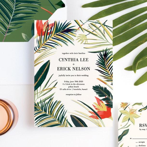 paper culture eco friendly wedding invitation polynesian florals destination wedding design