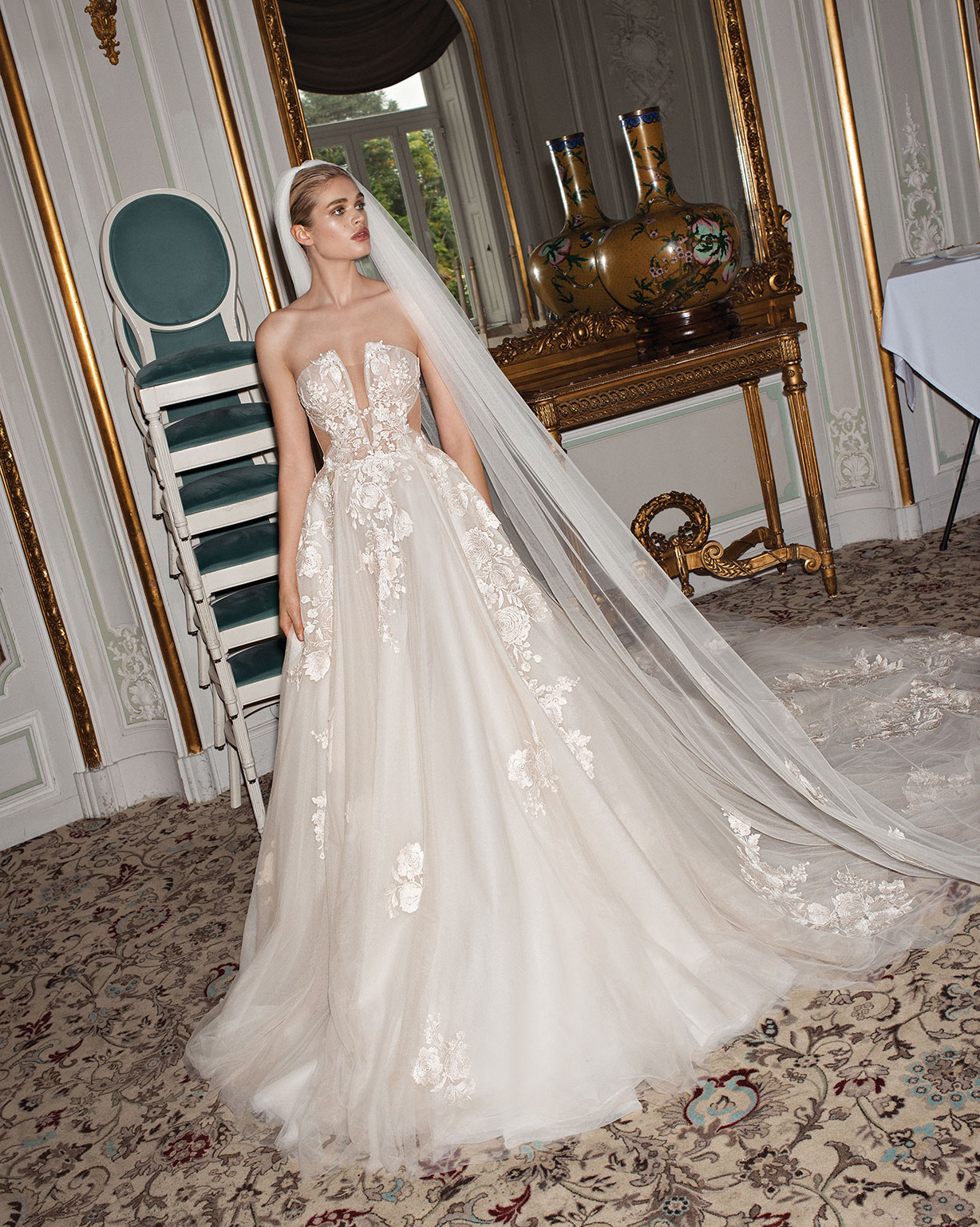 Galia Lahav Alegria collection Querida wedding dress ball gown silk tulle corset sheer cutouts