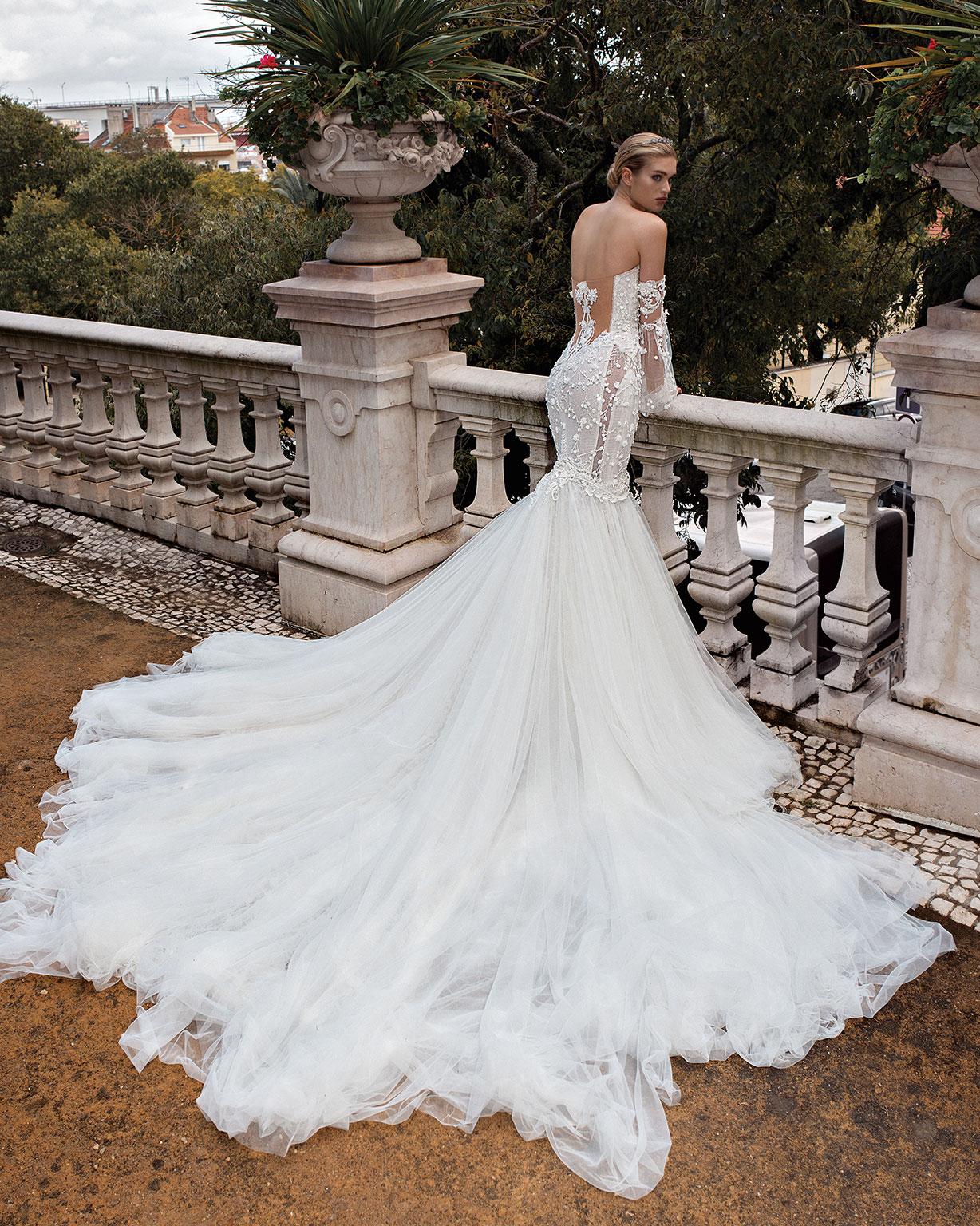 Galia Lahav Alegria collection Camilla wedding dress trumpet gown balloon sleeves corset top