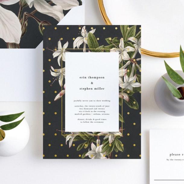 Paper Culture eco friendly wedding invitation floral bliss pretty flower print invite