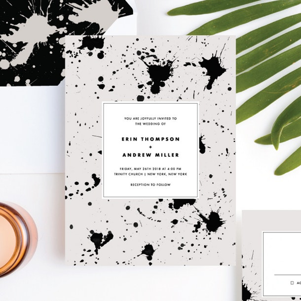 paper culture eco-friendly wedding invitation brush splash modern invite design