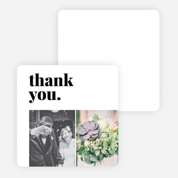 paper culture eco friendly wedding thank you note card picture and bold word in image