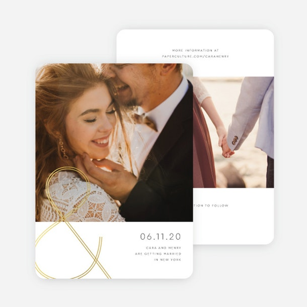 paper culture eco friendly wedding save the date card foil you and me gold foil