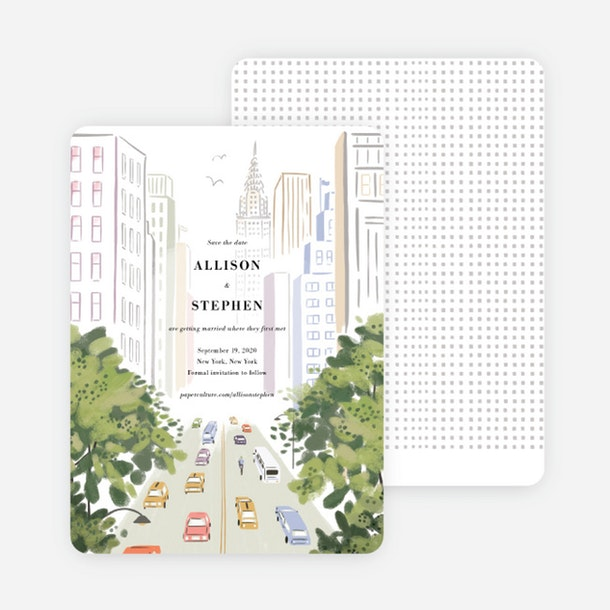 paper culture eco friendly wedding save the date card madison avenue illustration new york