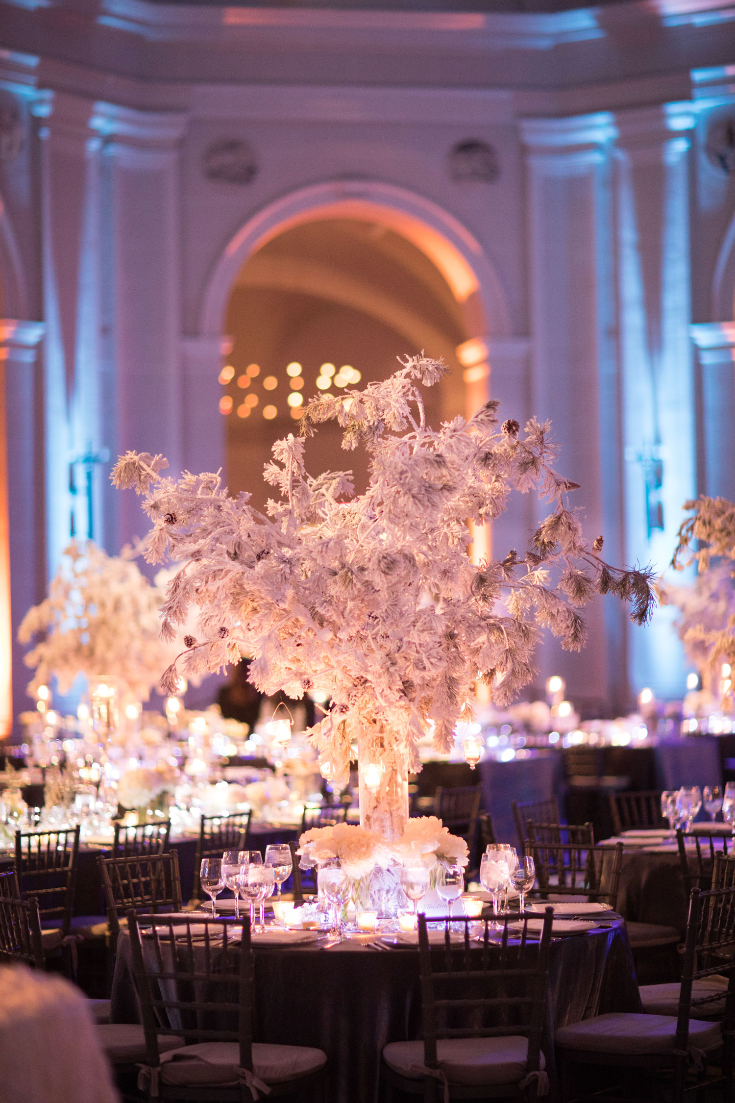 winter wedding ideas white centerpiece flower design