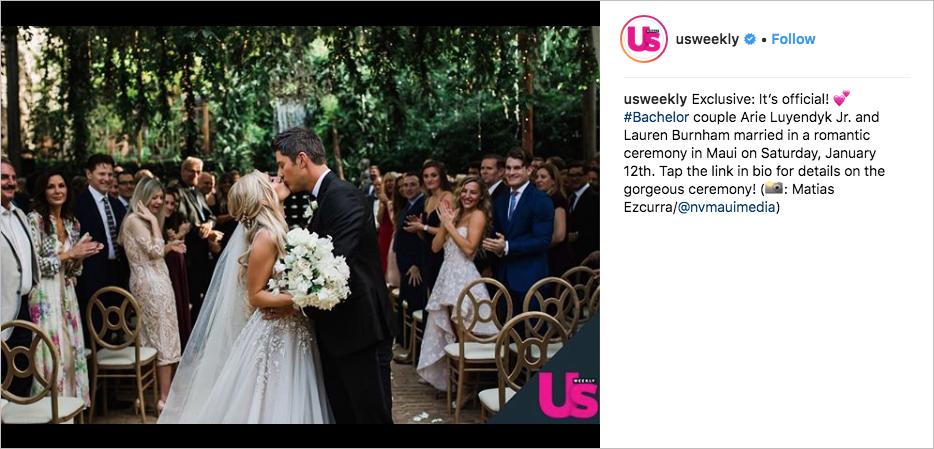 Arie Luyendyk Jr. and Lauren Burnham bachelor wedding in maui, hayley paige wedding dress